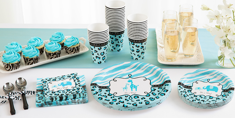 Patterned Tableware 50% off MSRP — Blue Safari Baby Shower Party Supplies