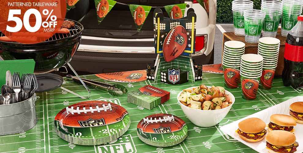NFL Drive Party Supplies – 50% off Patterned Tableware MSRP