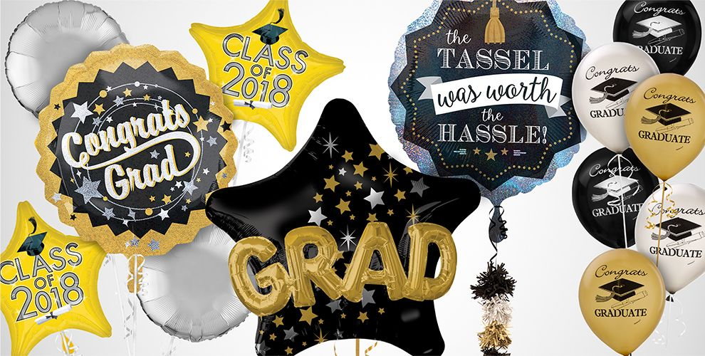 Black, Silver and Gold Graduation Balloons