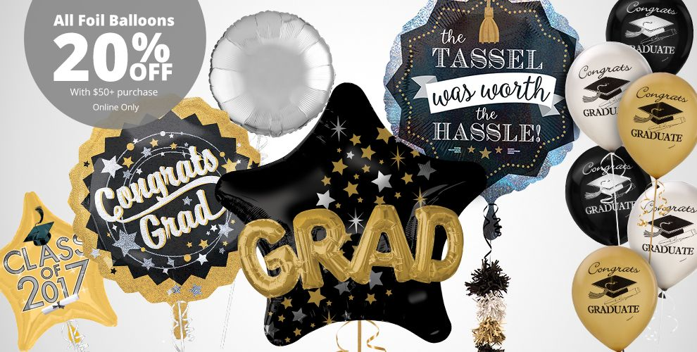 Black, Gold & Silver Graduation Balloons – All Foil Balloons 20% off with $50+ purchase Online Only