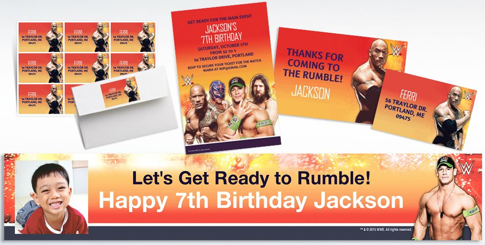 Custom WWE Invitations Thank You Notes Party City – Wwe Party Invitations