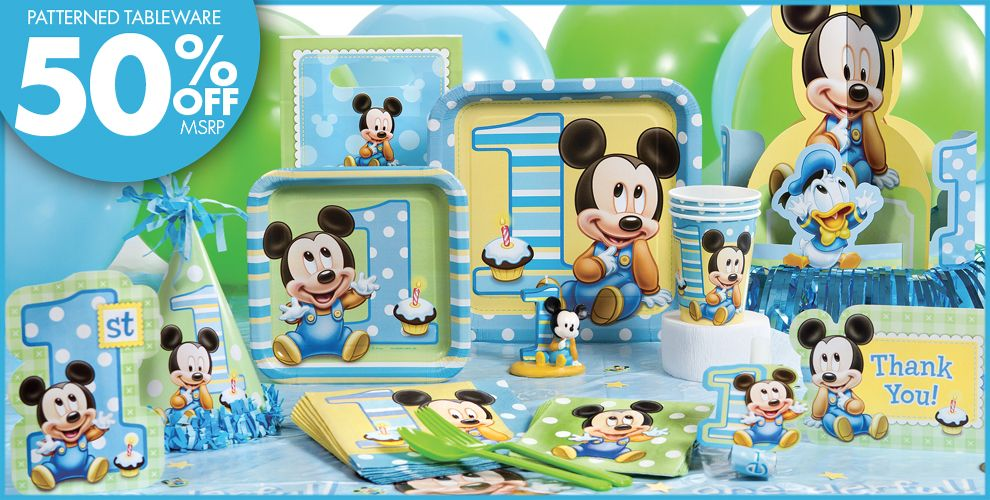 Mickey Mouse 1st Birthday Party Supplies AA