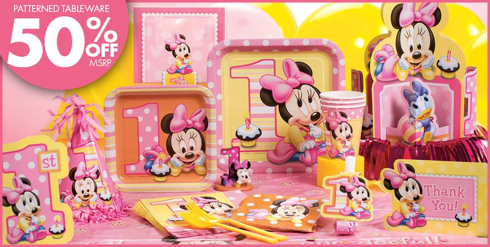 Minnie mouse 1st birthday party supplies party city for Baby minnie mouse party decoration