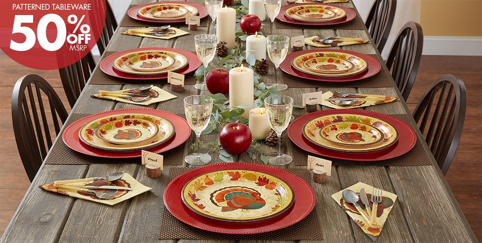 Patterned Tableware 50% off MSRP — Thanksgiving Holiday Party Supplies