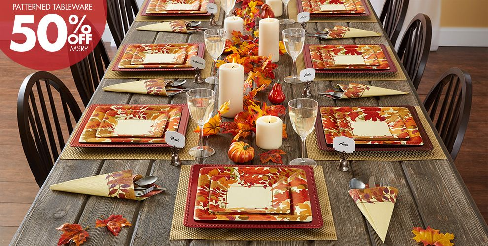 Patterned Tableware 50% off MSRP — Festive Fall Party Supplies