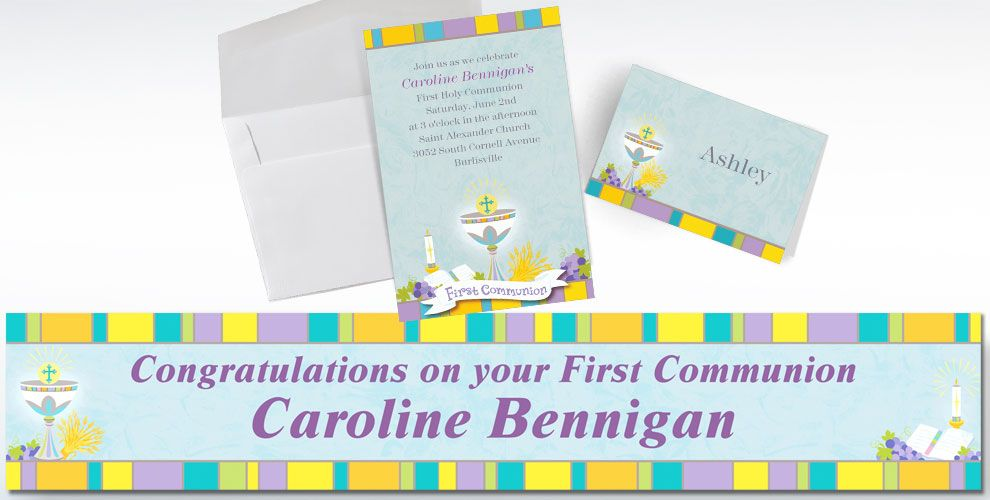 First Communion Custom Invitations & Thank You Notes
