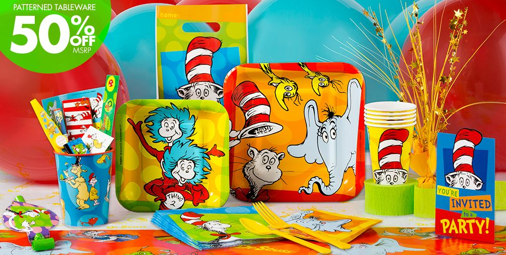 Dr. Seuss Party Supplies - 50% off Patterned Tableware MSRP