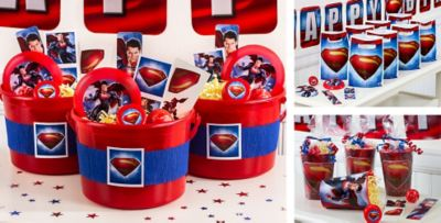 Superman Party Favors Tattoos Stickers Flying Discs More