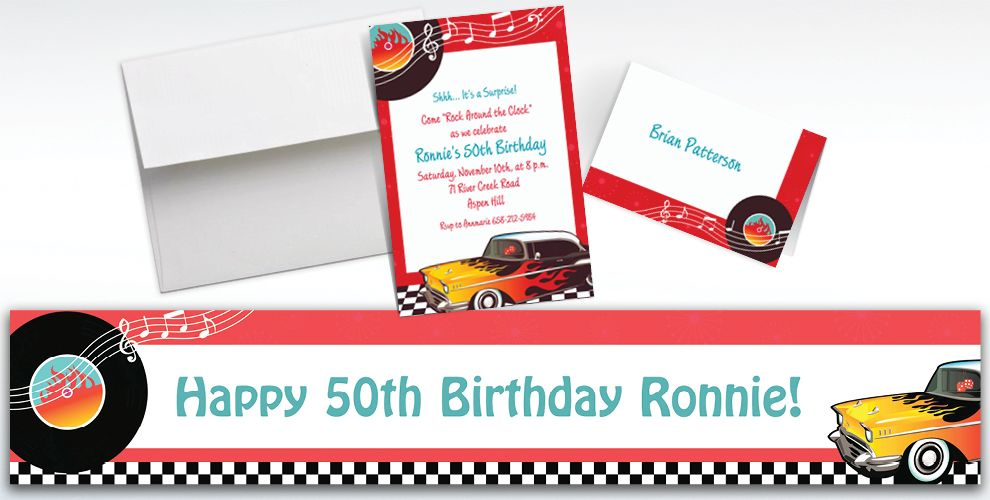 50's Theme Party Custom Invitations & Thank You Notes