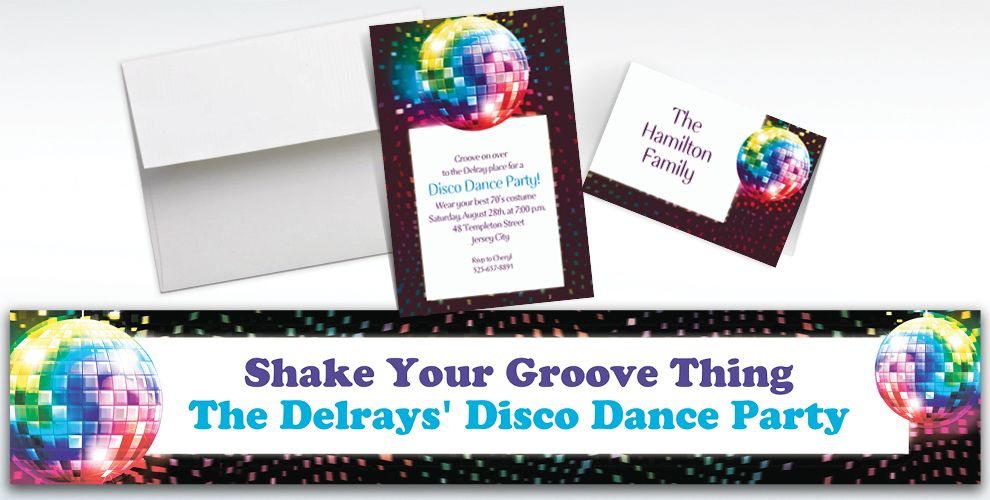 70's Theme Party Custom Invitations & Thank You Notes
