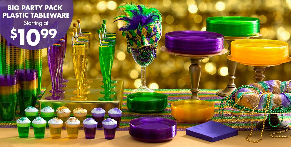 Mardi Gras Plastic Big Party Pack Tableware Starting at $7.99