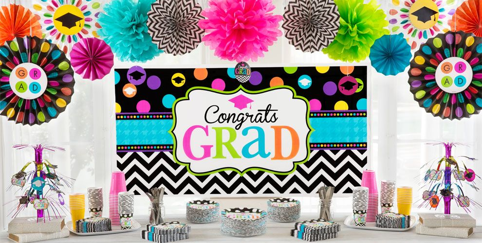 Chevron & Dots Graduation Decorations