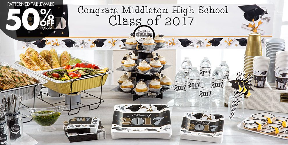 Black, Gold & Silver Graduation Party Supplies — Patterned Tableware 50% off MSRP