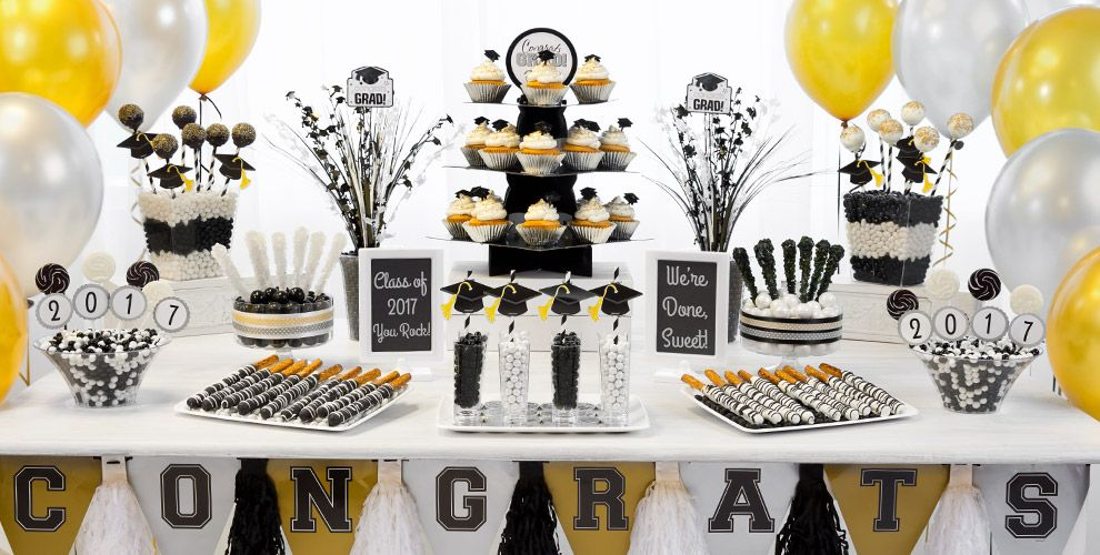 Black gold silver graduation party supplies party - Black silver and white party decorations ...