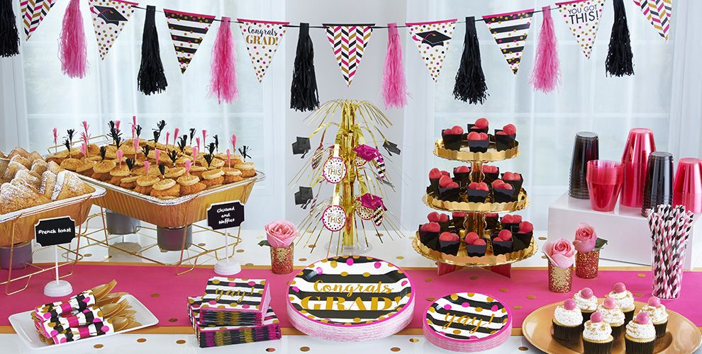 Pink & Black Graduation Party Supplies #2