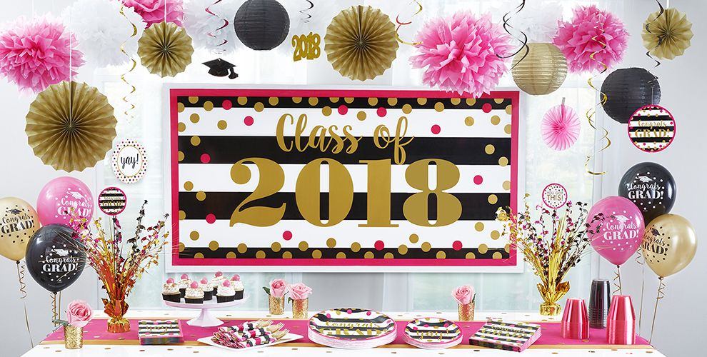 Pink & Black Graduation Party Supplies