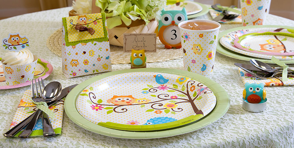 Patterned Tableware 50% off MSRP — Owl Baby Shower Party Supplies