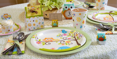 Captivating Patterned Tableware 50% Off MSRP U2014 Owl Baby Shower Party Supplies ...