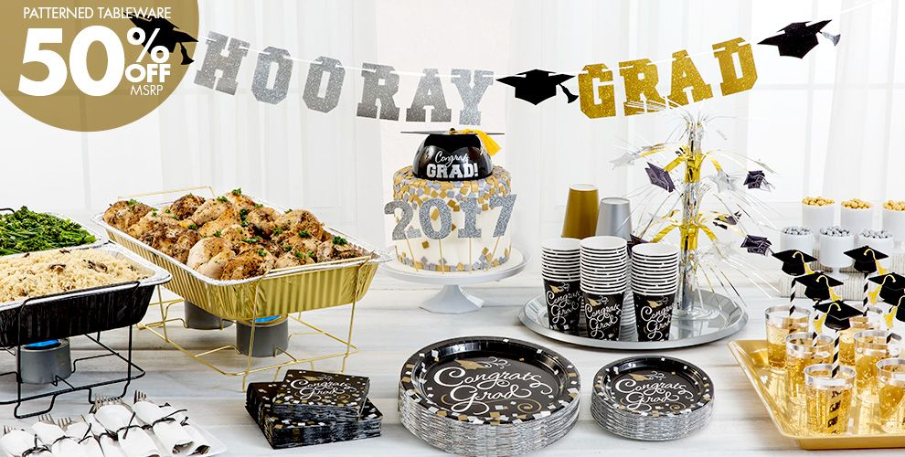 Patterned Tableware 50% off MSRP — Congrats Graduation Party Supplies