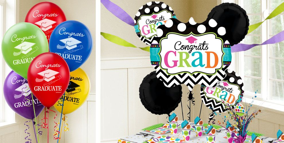 Chevron and Dots Graduation Balloons