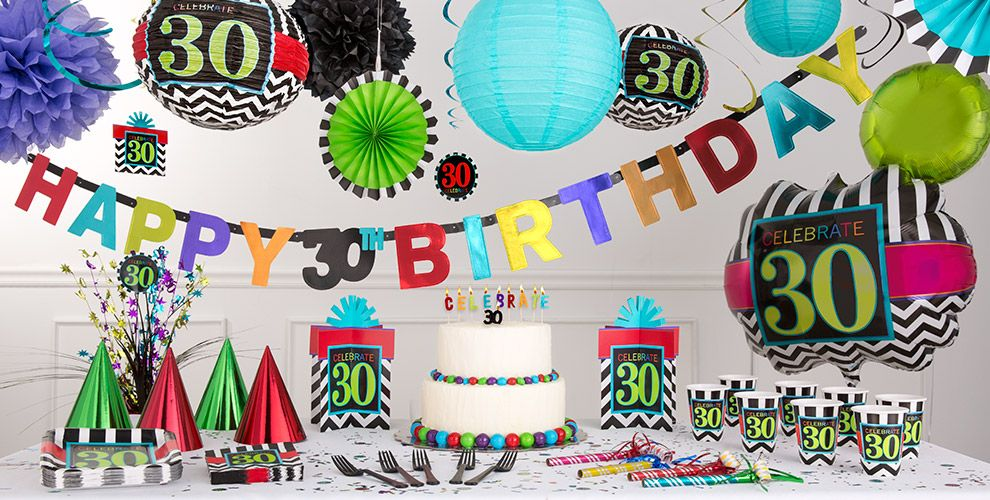 Chevron Celebrate 30th Birthday Party Supplies