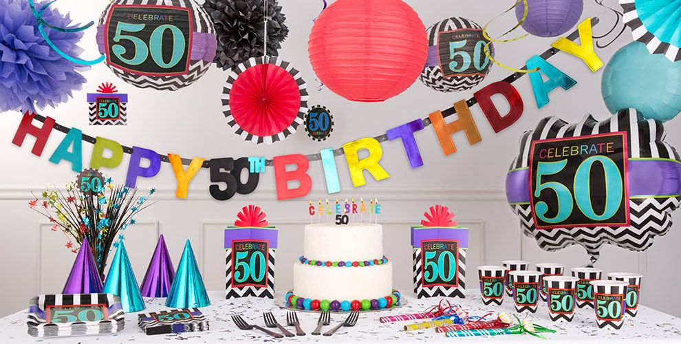 Chevron Celebrate 50th Birthday Party Supplies