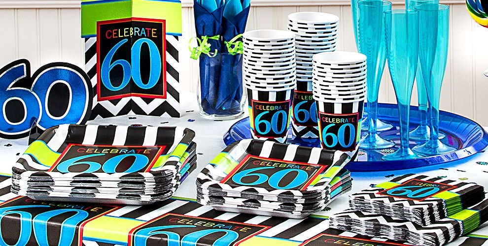 Chevron Celebrate 60th Birthday Party Supplies