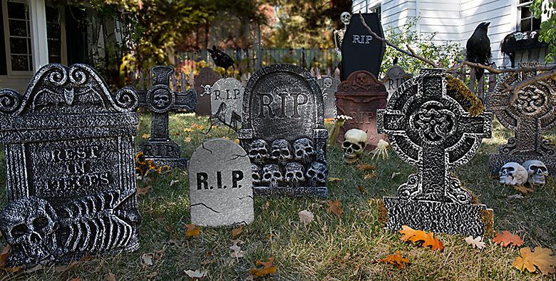 outdoor halloween decorations halloween tombstones cemetery decorations party city - Cemetery Halloween Decorations