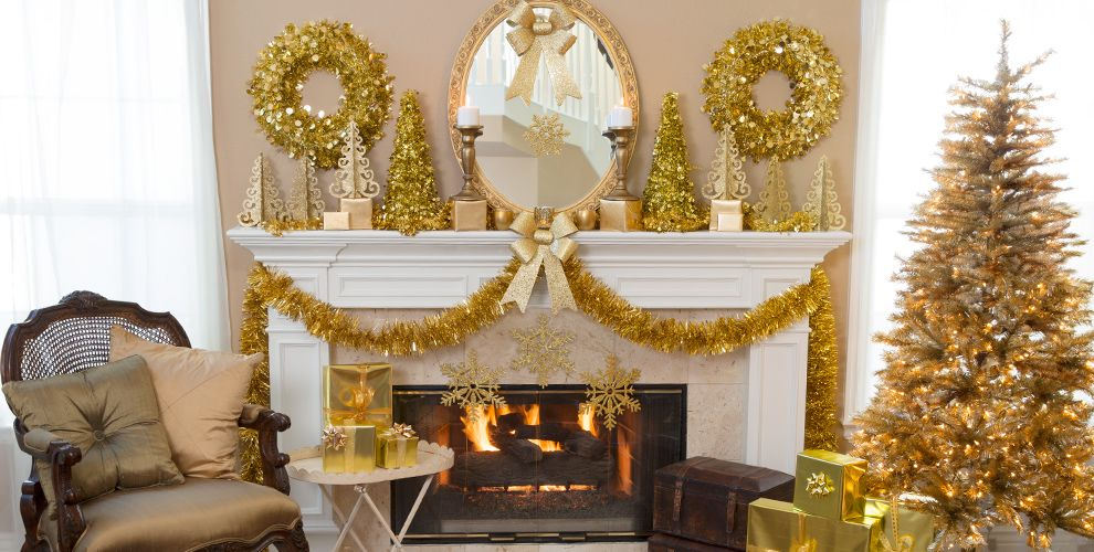 gold christmas theme party gold christmas decorations. Black Bedroom Furniture Sets. Home Design Ideas