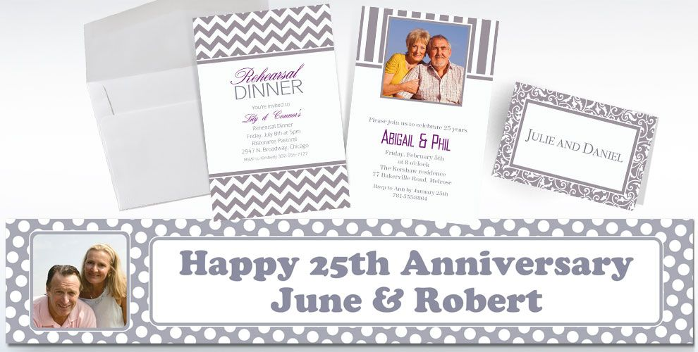 Silver Custom Invitations & Thank You Notes