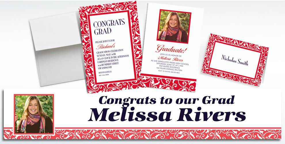 Red Custom Invitations & Thank You Notes