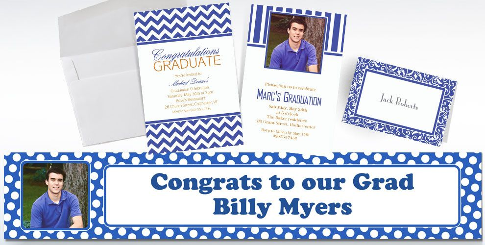 Royal Blue Custom Invitations & Thank You Notes