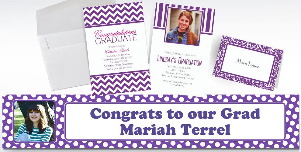 Purple Custom Invitations & Thank You Notes
