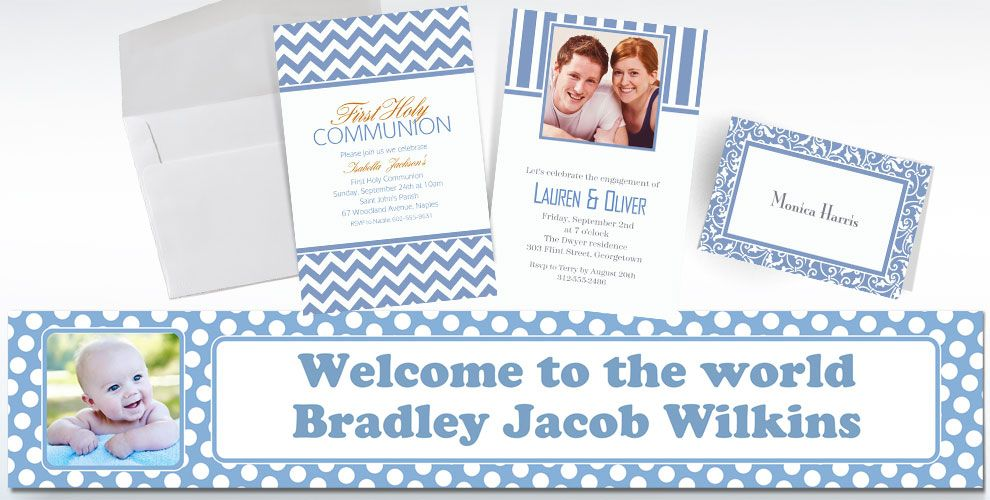 Pastel Blue Custom Invitations & Thank You Notes