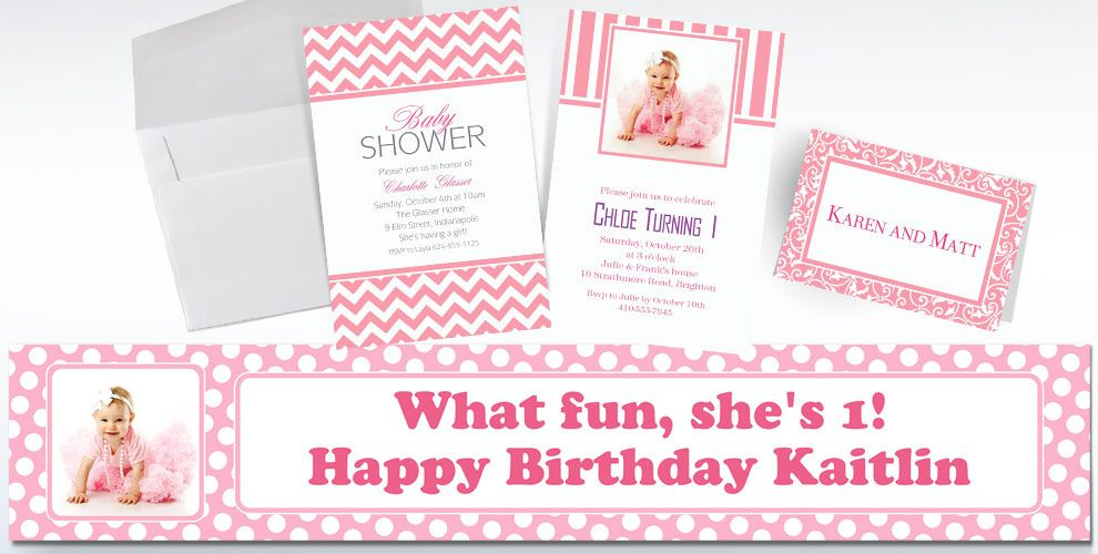Pink Custom Invitations & Thank You Notes