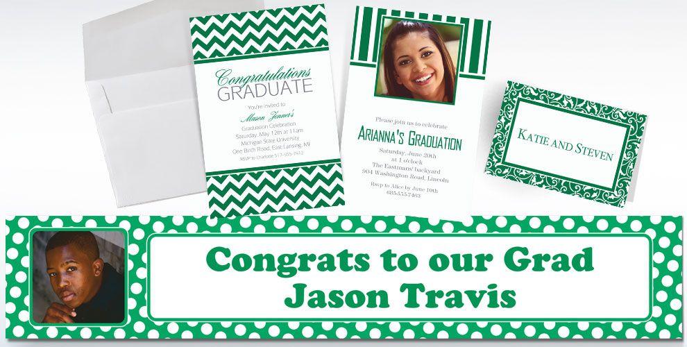 Festive Green Custom Invitations & Banners