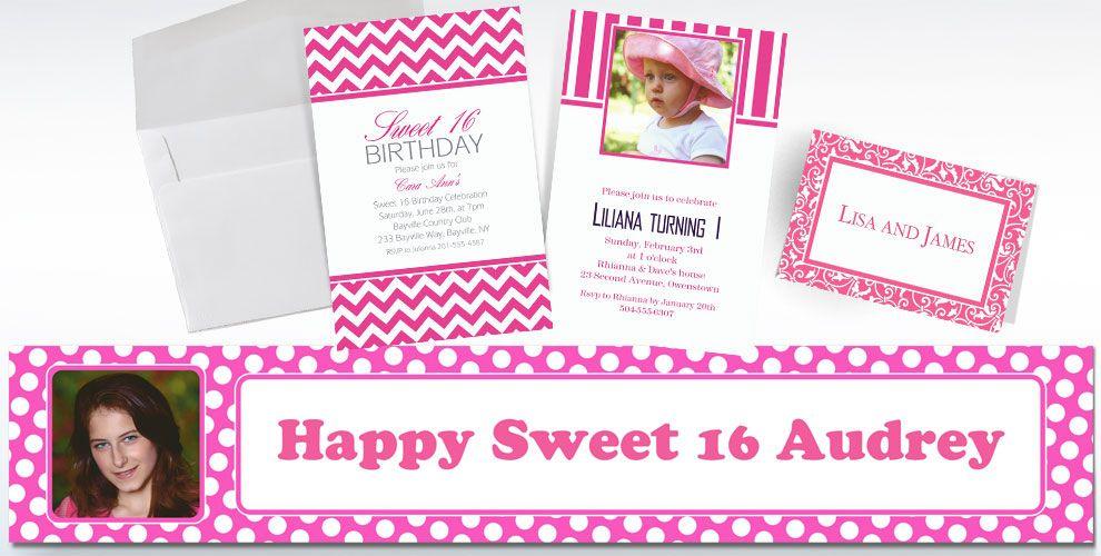 Bright Pink Custom Invitations & Banners