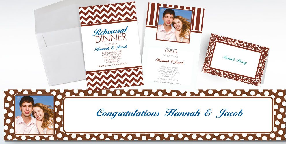 Chocolate Brown Custom Invitations & Thank You Notes
