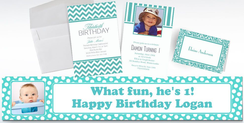 Robin's Egg Blue Custom Invitations & Thank You Notes