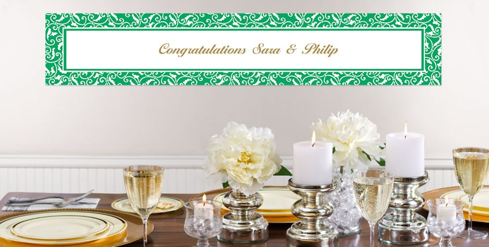 Festive Green Custom Wedding Banners