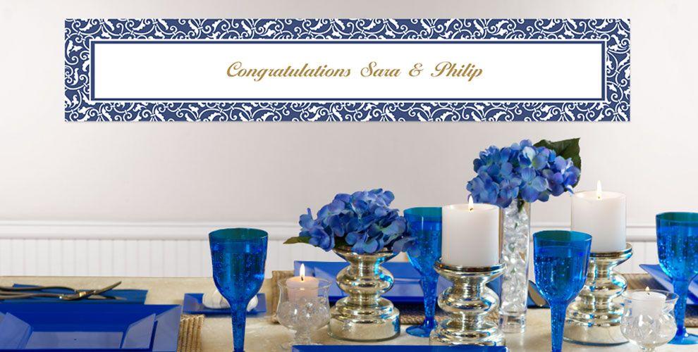 Royal Blue Custom Wedding Banners