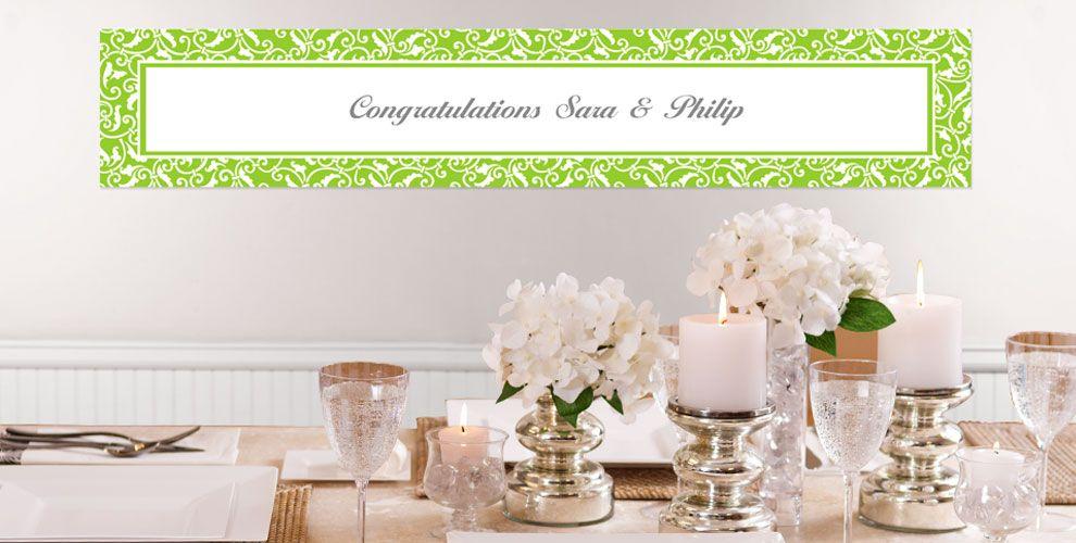 Kiwi Green Custom Wedding Banners