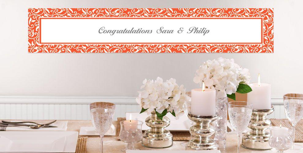 Orange Custom Wedding Banners