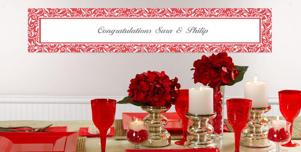 Red Custom Wedding Banners