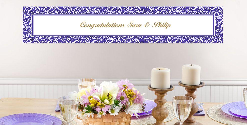 Purple Custom Wedding Banners
