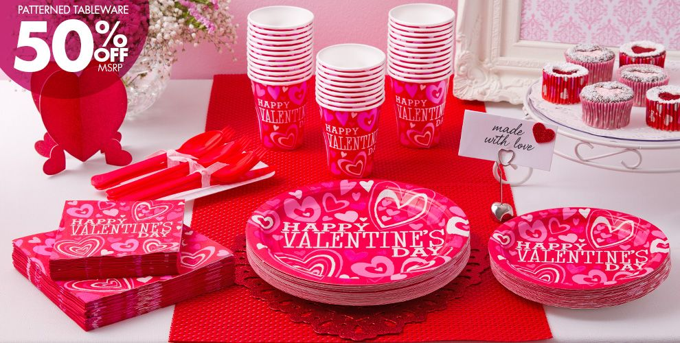 Bright Valentine's Day Party Supplies 50% off Patterned Tableware MSRP