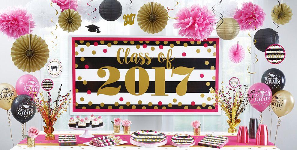 Pink & Black Graduation Decorations