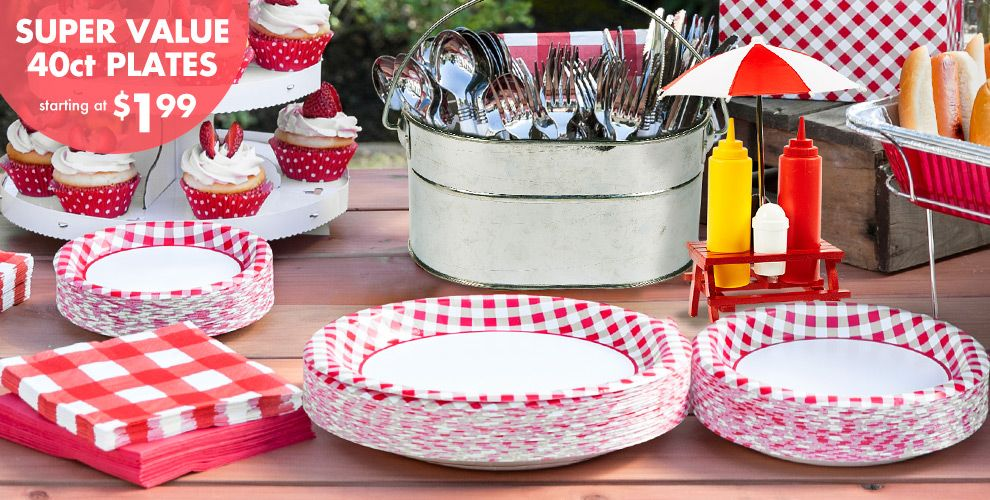 Picnic Party Red Gingham Party Supplies – Super Value 40ct Plates Starting at $1.99