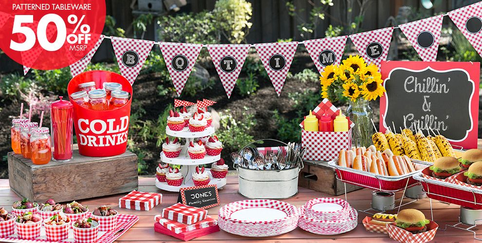 Picnic Party Red Gingham Party Supplies – 50% off Patterned Tableware MSRP