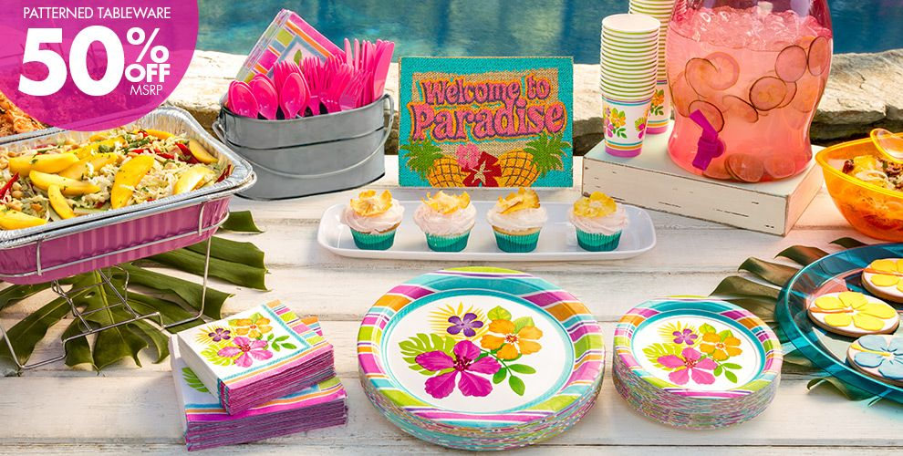 Colorful Hibiscus Party Supplies – Patterned Tableware 50% off MSRP
